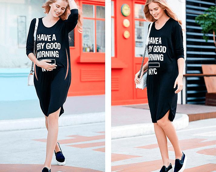 Черное-платье-для-беременной-скрывающее-живот