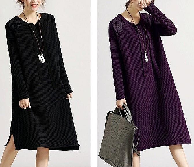 широкое-черное-платье-с-рукавами
